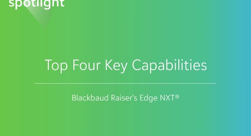 Top Four Key Capabilities in Raiser's Edge NXT