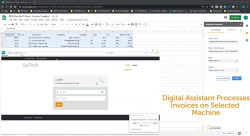 RPA Bots for G Suite - Invoice Creation