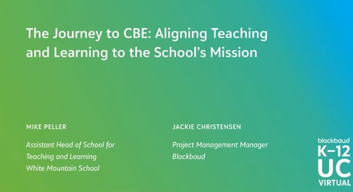 The Journey to CBE: Aligning Teaching and Learning to the School's Mission