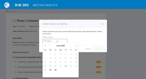 BIM 360 Meetings - Meeting Follow-Up Creation