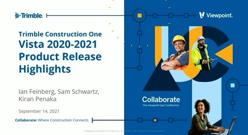 Vista - Trimble Construction One & Vista 2020-2021 Product Release Highlights