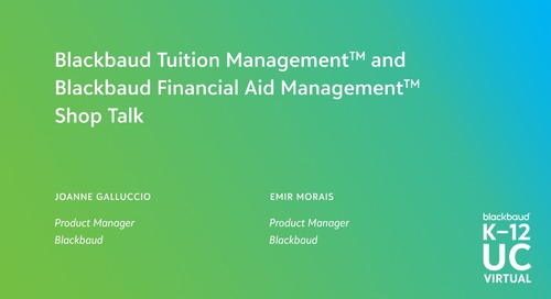 Blackbaud Tuition and Financial Aid Management Shop Talk