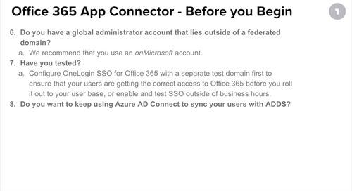 Configuring OneLogin's Office 365 V2 App Connector Pt 2: Add App Connector