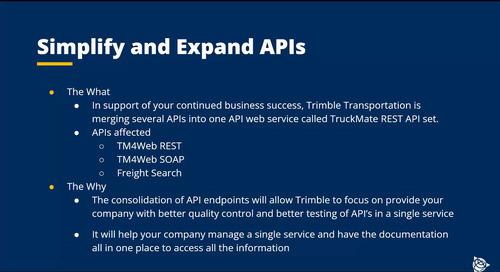 TruckMate API Update 10-20-21