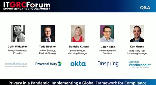 Webinar: Privacy in a Pandemic: Implementing a Global Framework for Compliance