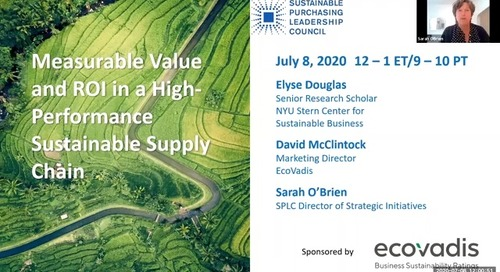 [SPLC Webinar] Measurable Value and ROI in a High-Performance Sustainable Supply Chains