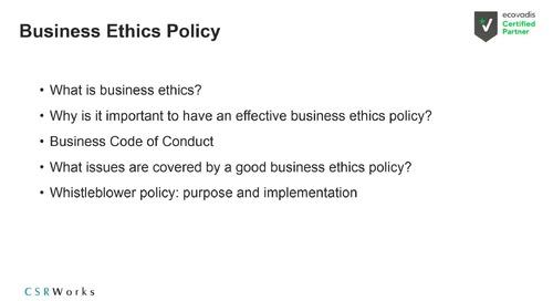[Partner Webinar CSRWorks] Deep Dive EcoVadis Assessment: Ethics Theme