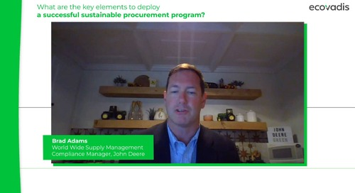 Brad Adams at John Deere Shares Keys To Deploy A Successful Sustainable Procurement Program