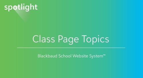 Class Page Topics