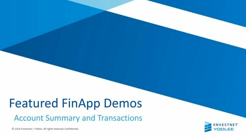 FinApp Series: Account Summary and Transactions Featured Demo