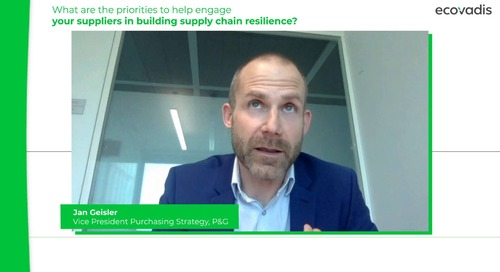 P&G discute su come coinvolgere i fornitori al fine di aumentare la resilienza della catena di approvvigionamento.