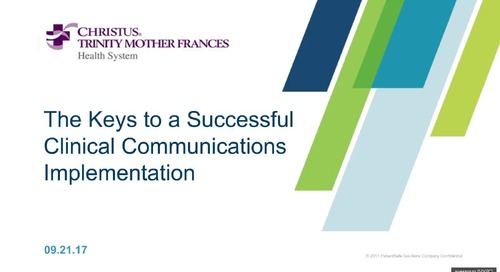 Webinar:  Keys to a Successful Clinical Communications Implementation