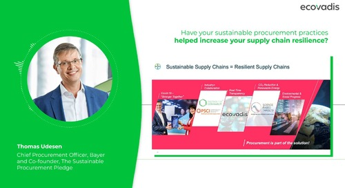 Thomas Udesen, Chief Procurement Officer At Bayer Talks About Supply Chain Resilience