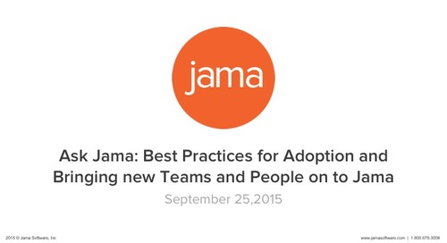 Ask Jama Best Practices for Adoption