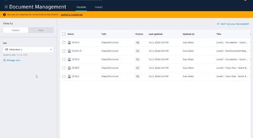 BIM 360 Document Set Management