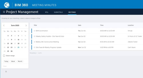 BIM 360 Meetings - Accessing Meeting Agendas and Records