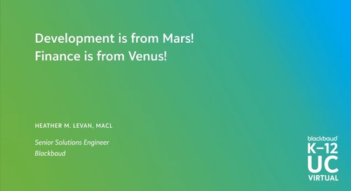 Development is from Mars! Finance is from Venus!