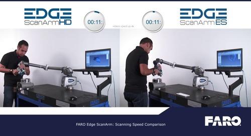 Speed comparison of blue vs. red laser scanning