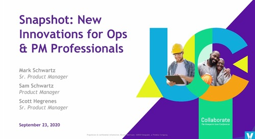 2020 Snapshot: New Innovations for Ops & PMs Professionals in Spectrum