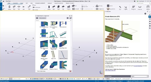 Instructor Side Pane in Tekla Structures 2021