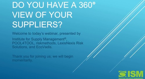 Do You Have A 360 View Of Your Suppliers