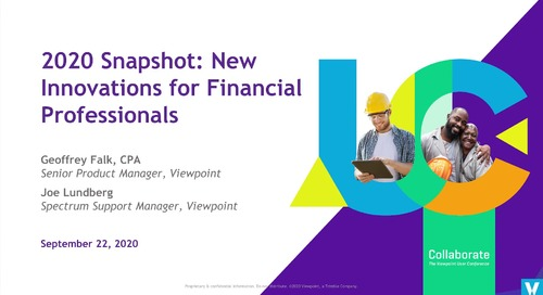 2020 Snapshot: New Innovations for Financial Professionals in Spectrum
