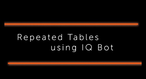 IQ Bot How to - repeated table extraction