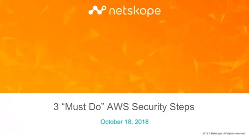 3 Must-Do AWS Security Steps