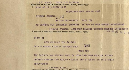 Sharing Student Scholarship: Students/Student Groups at Baylor, 1921-1930