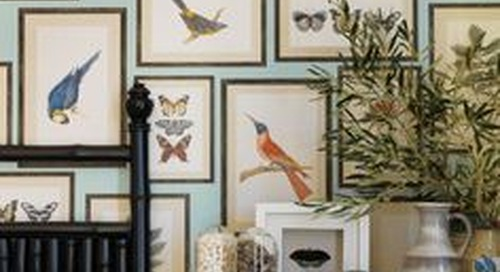 Wall Art Ideas | Tips for Hanging, Arranging | Laurel Home | lovely collage of prints from UK House and Garden