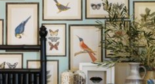 Wall Art Ideas   Tips for Hanging, Arranging   Laurel Home   lovely collage of prints from UK House and Garden