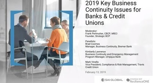 2019 Key Business Continuity Issues for Banks & Credit Unions