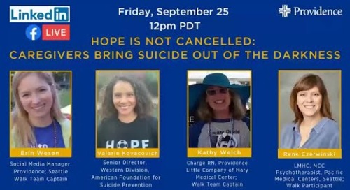 Hope is not canceled - Caregivers join Out of the Darkness Walk