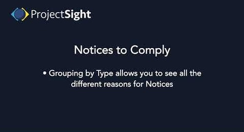 ProjectSight Training Notices to Comply