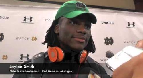 Jaylon Smith - Post Game - Notre Dame vs. Michigan