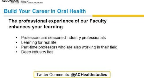 Oral health webinar - Algonquin College