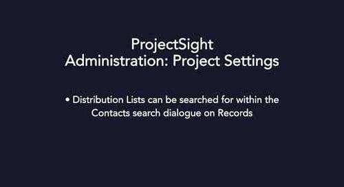 ProjectSight - Project Settings