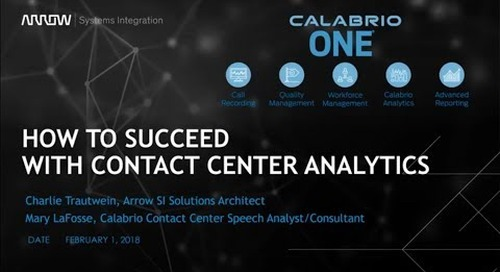 ASI Emerging Technologies Webinar Series - How To Succeed With Contact Center Analytics