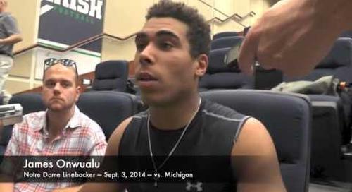 Notre Dame LB James Onwualu - vs. Michigan - 9/3/14