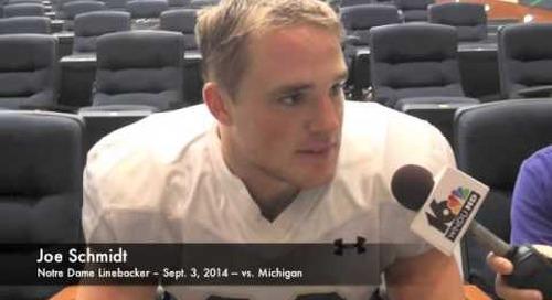 Notre Dame LB Joe Schmidt - vs. Michigan (9/3/14)