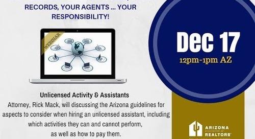 Unlicensed Real Estate Activity & Assistants 12.17.2015