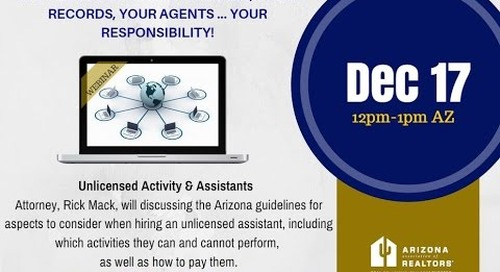 Unlicensed Real Estate Activity & Assistants 12.17.2015
