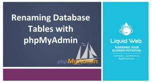 Renaming Database Tables with PhpMyAdmin