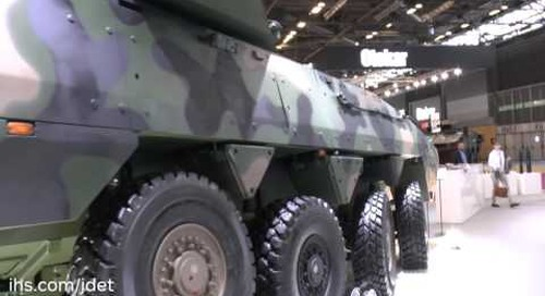 Eurosatory 2016 HSW 120mm turreted mortar on a Rosomak chassis