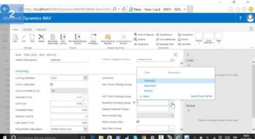 How Do I Use an Item as a Service in Dynamics NAV 2016