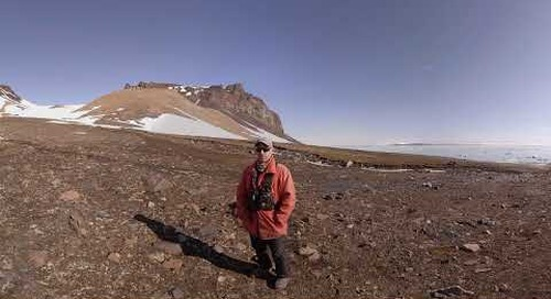 North Pole: Ornithologist Fabrice Genevois talks at Bird Colony on Champ Island (360° VR)