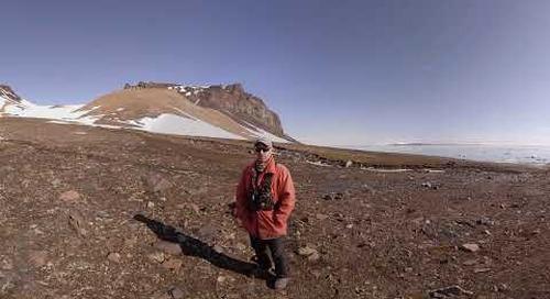 North Pole: Ornithologist Fabrice Genevois talks at Bird Colony on Champ Island (360° VR)