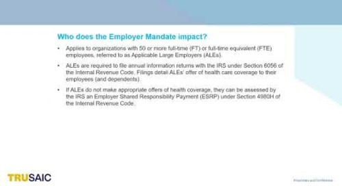 What are ALEs and What are Their Responsibilities Under the Employer Mandate  - Webinar - Trusaic