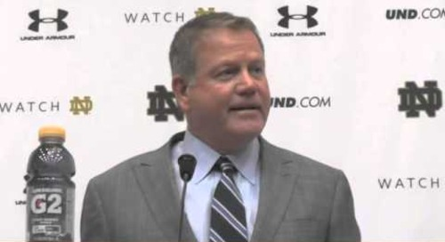 ND's Brian Kelly Jokes With Reporter During Presser