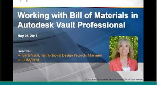 Working with Bill of Materials in Autodesk Vault Professional